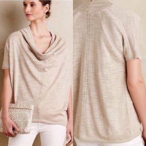 Anthropologie cowl neck short sleeve sweater